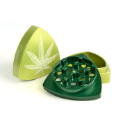 "4-part-Grinder, Limegreen / Green - ""WeedLeaf"""
