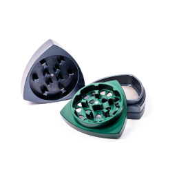 4-Teil-Grinder, Stahlblau / Grün